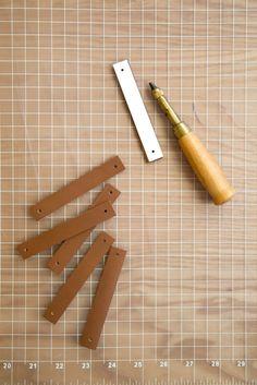 DIY: Leather Hooks + Pulls | Kalon Studios Very simple DIY. Bathroom or Kitchen