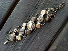 GoldTone Button Bracelet by JaneSteeleMason on Etsy, $90.00