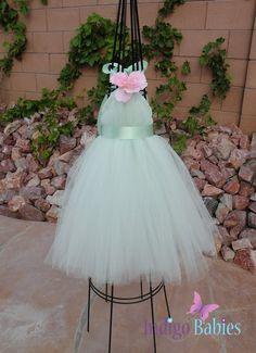 Tutu Dress, Flower Girl Dress, Mint Green Tulle, Mint Ribbon, Pink Poppy, Fabric Flower, Portrait Dress, Wedding Flower Girl Dress