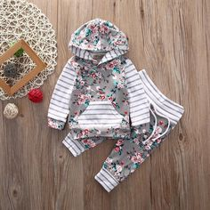 Cheap baby clothing set, Buy Quality baby girl clothes directly from China baby clothing Suppliers: Baby Clothing Set Baby Girls Clothes Hooded Tops Pants Baby Gilrs Floral Clothes Winter Long Sleeve Outfits Set Baby Girl Pants, Baby Girls, Baby Girl Newborn, Toddler Girls, Baby Jeans, Baby Baby, Outfits Niños, Kids Outfits, Floral Outfits
