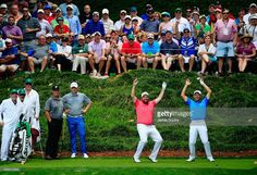 Padraig Harrington and Shane Lowry of Ireland react to a shot during the Par 3 Contest prior to the start of the 2015 Masters Tournament at Augusta National Golf Club on April 2015 in Augusta, Georgia. Shane Lowry, Padraig Harrington, 2015 Masters, Augusta National Golf Club, Masters Tournament, Augusta Georgia, Bunker, Victorious, Ireland