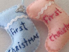 Baby  Boy Or Girl First Christmas Felt Stocking- Free Shipping. $4.99, via Etsy.
