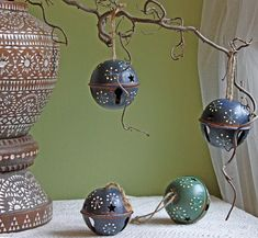 Vintage Hand Painted Christmas Bells Ornaments. Metal Rusty