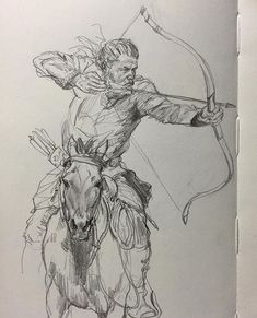 Old horse archer sketch. #sketch #sketchbook #drawing #pencil #archery #archer #hunting #horseriding