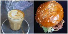 Hammer and Tong, Melbourne. Skim latte and soft shell crab burger.