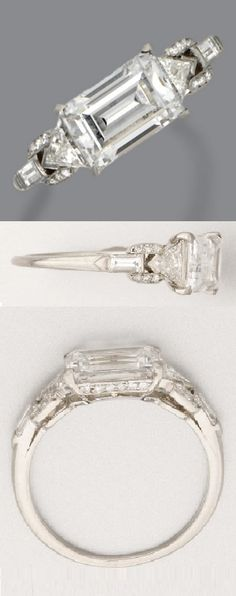 An Art Deco diamond ring, Raymond Yard, circa 1930. The rectangular step-cut diamond weighing 1.73 carats, the shoulders decorated with buckle motifs set with triangular, baguette and single-cut diamonds, mounted in platinum, signed Yard. #Yard #ArtDeco #ring