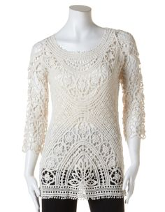 Crochet Pullover Sweater with CamiCrochet Pullover Sweater with Cami, Natural