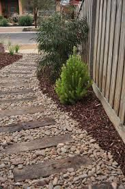 Image result for pebble stone and railway sleepers