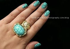 Turquoise Manicure (Inspired by a beautiful ring) by Very Emily