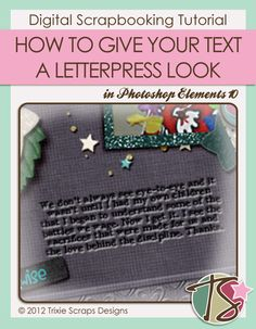 Masters Monday {How to Give Your Text a Letterpress Look} Digital Scrapbooking Tutorial
