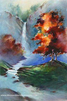 Watercolor Waterfall Art Print. Fall Colors. Autumn. Red. Orange. Blue. Stream. Watercolor Trees Shadows. Landscape Watercolor Giclee Print