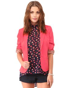 A bold feminine blazer featuring a notched lapel and a single button closure. Decorative front welt pockets. Seam stitch details. Ruched 3/4 sleeves. Finished hem. Unlined. Woven. Medium in weight. CORAL Color! LOVE IT Forever21.com