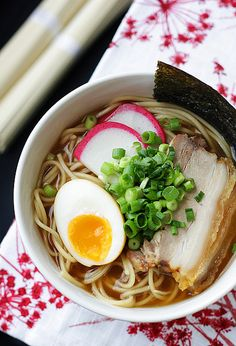 Shoyu Ramen with Roasted Pork Belly; via Citrus & Candy. Japanese Noodles, Ramen Japanese, Japanese Food, Shoyu Ramen, Asian Recipes, Healthy Recipes, Japanese Dishes, Japanese Recipes, Pork Belly
