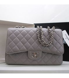 Chanel Grey Caviar Leather Silver Chain Bag..Want.