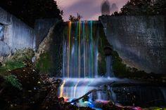 Glowsticks in waterfalls. Amazing. - Neon Luminance ‹ From The Lenz