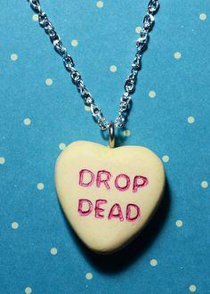 Candy Heart Necklace Rockabilly Psychobilly by VonErickson, $16.66