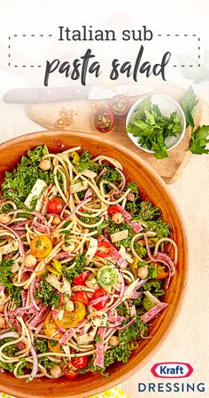 Italian Sub Pasta Salad – Have your pasta and eat a sandwich too with this creative potluck recipe. This yummy Italian sub pasta dish is full of salami, provolone, pepperoncinis, and more—making it a hit at any get-together this summer. Potluck Recipes, Kraft Recipes, Summer Recipes, Cooking Recipes, Healthy Recipes, Pasta Salad Recipes, Summer Salads, Soup And Salad, Pasta Dishes