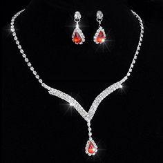 Womens Bridal jewellery Sets. Crystal Tennis Red Ruby Necklace Set Crystal Drop Earrings CrystalGemsStore http://www.amazon.co.uk/dp/B010NSKAQM/ref=cm_sw_r_pi_dp_vNsMvb1PSJNXX
