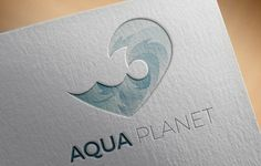 Aqua logo template with waves by MaryHat on @creativemarket