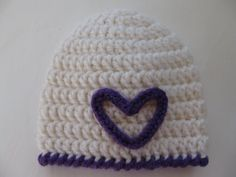 Pattern for cute crocheted preemie hat with heart from thewhitedaisydesigns