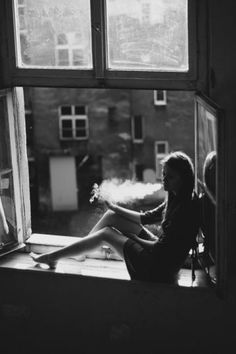 Smoke | smoking | break | window seat | rest | urban | blow smoke | inhale | exhale | black & white | capture: