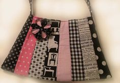Patchwork in pink and black with removable flower pin