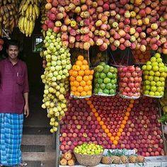 a typical fruit shop in Kerala