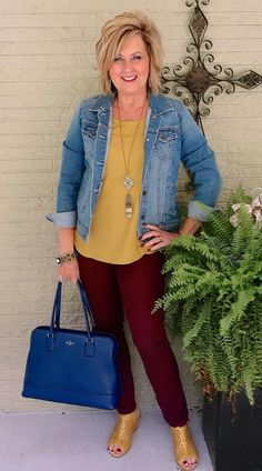 50 is not old transition outfit fall weather denim jacket fashion over 40 f Fashion For Women Over 40, 50 Fashion, Fall Fashion Trends, Women's Fashion Dresses, Look Fashion, Ladies Fashion, Celebrities Fashion, Curvy Fashion, Fashion Bloggers