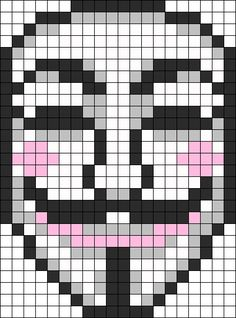 Guy Fawkes Anonymous Mask Perler by TheSwankyRaver on Kandi Patterns Kandi Patterns, Perler Patterns, Beading Patterns, Bracelet Patterns, Perler Beads, Perler Bead Art, Pixel Art Templates, Perler Bead Templates, Beaded Cross Stitch
