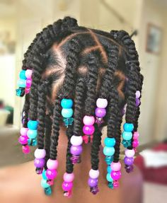 Twists and Beads Styles for little black girls! Chica Styles in little black girls braided hair styles - Hair Style Girl Toddler Braided Hairstyles, Toddler Braids, Lil Girl Hairstyles, Black Kids Hairstyles, Natural Hairstyles For Kids, Braids For Kids, Natural Hair Styles, Kids Braids With Beads, Little Girl Twist Hairstyles Black