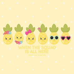 Pineapple Clipart and Digital Papers Kawaii Pineapple, Cute Pineapple, Pineapple Clipart, Pineapple Wallpaper, Summer Clipart, Crisp Image, Kawaii Drawings, Cute Wallpapers, Ideas Party