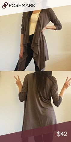 """Fall Breeze Cardigan A dark taupe, slimming cardigan with draped front and generous length.  Perfect for fall layering 🍂 I'm 5'9"""" & Size 2 and I'm wearing a Small.  Cover photo used with permission.  Comes in Small (2/4)   Med (6/8)   Large (10/12)   95% Rayon   5% Spandex   Made in USA   No trades   Price firm unless bundled Infinity Raine Sweaters Cardigans"""