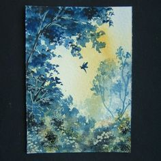 Art painting aceo original paintings butterfly landscape 76 £4.00