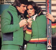 love the mtaching 70's ski green ski outfits... stylin