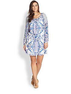 Single, Sizes 14-24 Silk Peasant Dress