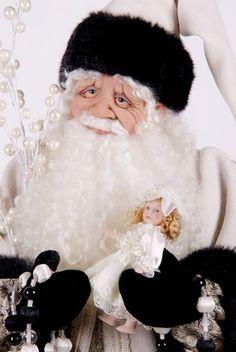 OOAK Santa in Ivory & Black by SpiritOfStNicholas on Etsy, $649.00