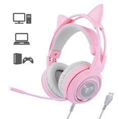 SOMIC Gaming Headset For PC, Laptop: Virtual Surround Sound Detachable Cat Ear Headphones LED, USB, Lightweight Self-adjusting Over Ear Headphones For Girlfriend Women Som Bluetooth, Wireless Headset, Gaming Headset, Gaming Headphones, Over Ear Headphones, Pink Headphones, Catty Noir, Headphone With Mic, Accessories