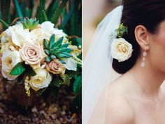 A chic succulent and rose bouquet. Tucson Bride and Groom Magazine, Pangburn Photography