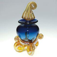 Chuck Sorrels cobalt perfume w/stopper, 6