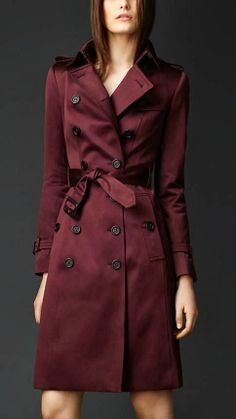 Burgundy Long Trench Coat