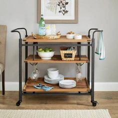 3 Tiered Metal Made Rustic Country Bar Cart, Antiqued Black/Pine with Caster Wheels for Easy Mobility, http://www.amazon.com/dp/B00ZOYZ4NU/ref=cm_sw_r_pi_awdm_6Si9wb3NJBW5G