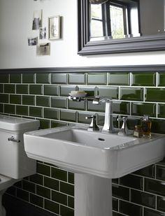 Heritage Bathrooms Wynwood suite standard basin with 3 Taphole Basin Mixer, bottle green Art Deco Metro wall tiles and Edgeware mirror in Slate Grey