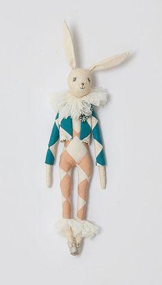 Spring Harlequin Hare doll
