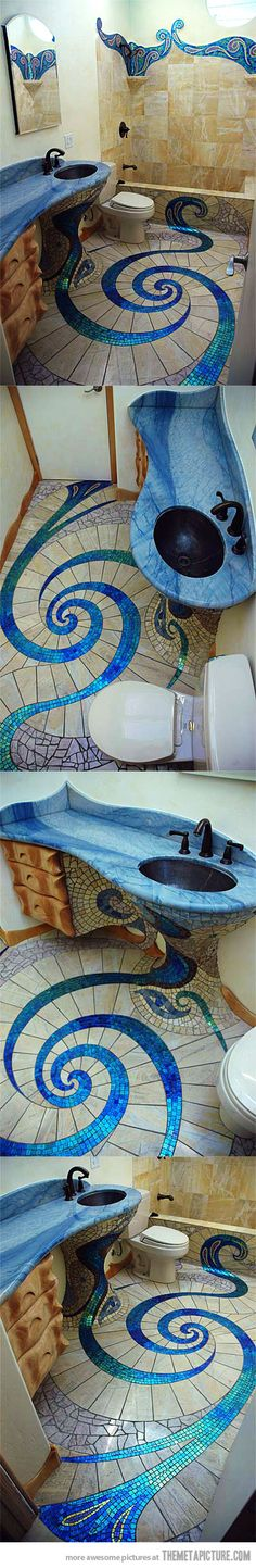 Fancy bathroom - Imagine doing this in a tiny house bathroom? It would take some work, but make that tiny space extra special!
