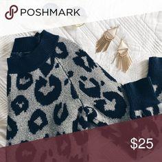 GAP Leopard print sweater Super cute and feminine grey Gap sweater with dark blue leopard print. Thick & soft! GAP Sweaters