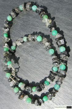 * TURMALINQUARZ CHRYSOPRAS KETTE * tourmalinated Quartz Chrysoprase Necklace * Beaded Necklace, Necklaces, Bracelets, Tourmalinated Quartz, Healing, Charmed, Gemstones, Ebay, Jewelry