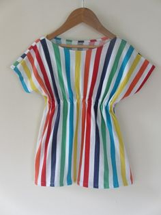 This would be a cute beach cover up --Girl Toddler rainbow stripe dress Sizes 3 4 5 6 children clothing girlsandboys - by girlsandboys on madeit Kids Outfits Girls, Little Girl Dresses, Girl Outfits, Girls Dresses, Sewing Kids Clothes, Sewing For Kids, Rainbow Outfit, Rainbow Clothes, Baby Frocks Designs