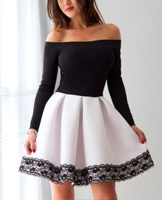 A-Line Off-the-Shoulder Long Sleeves Satin Homecoming Dress with Lace