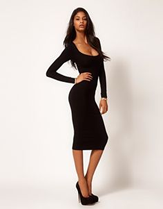 Enlarge ASOS Midi Bodycon Dress with Long Sleeves