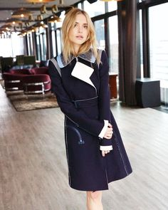 Ready for Resort. Stylist + blogger Pernille Teisbaek wears the Birkhoff leather-trimmed crepe coat from the Resort 2015 Calvin Klein Collection.
